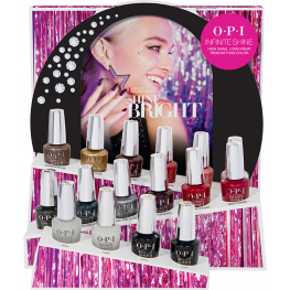 OPI Infinite Shine-Shine Bright Collection 16 Piece Chipboard Display